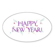 New Year Confetti Oval Decal