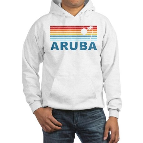 Retro Palm Tree Aruba Hooded Sweatshirt