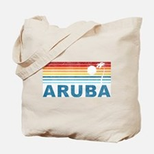 Retro Palm Tree Aruba Tote Bag