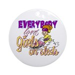 Girls on Sleds Ornament (Round)