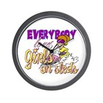 Girls on Sleds Wall Clock