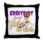 Girls on Sleds Throw Pillow