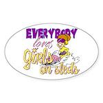 Girls on Sleds Oval Sticker