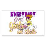 Girls on Sleds Rectangle Sticker