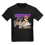 Girls on Sleds Kids Dark T-Shirt
