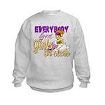 Girls on Sleds Kids Sweatshirt