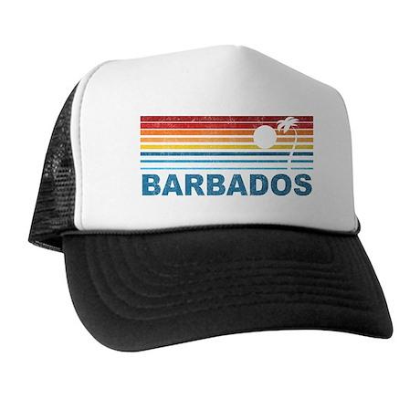 Retro Barbados Palm Tree Trucker Hat