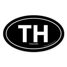Thailand country bumper sticker -Black (Oval)