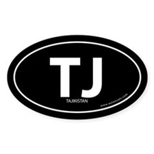 Tajikistan country bumper sticker -Black (Oval)
