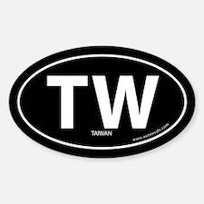Tawain country bumper sticker -Black (Oval)