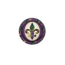 Fleur de lis Mardi Gras Beads Mini Button