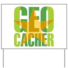 Star Geocacher Green Yard Sign