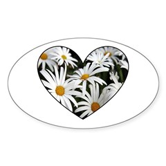 Daisy Heart Oval Decal