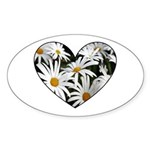 Daisy Heart Oval Sticker