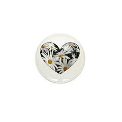 Daisy Heart Mini Button