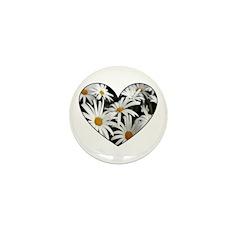 Daisy Heart Mini Button (10 pack)