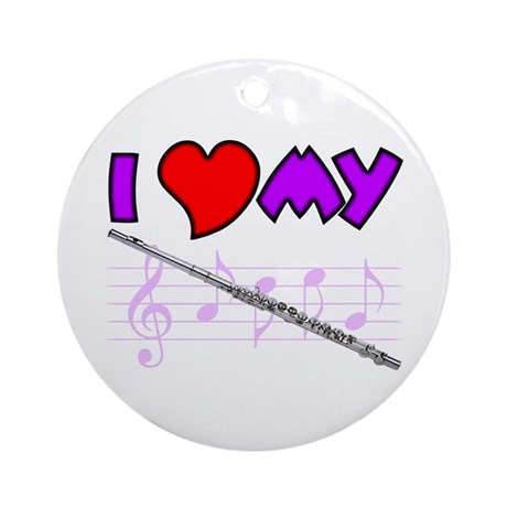 I Heart My Flute Ornament (Round)