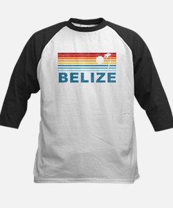 Retro Belize Palm Tree Kids Baseball Jersey