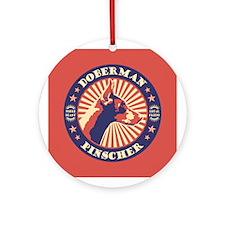 Doberman Vintage Emblem Ornament (Round)