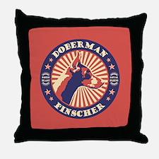 Doberman Vintage Emblem Throw Pillow
