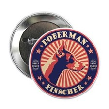 "Doberman Vintage Emblem 2.25"" Button"