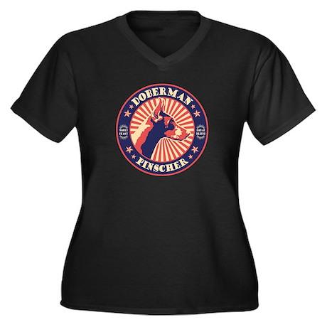 Doberman Vin Women's Plus Size V-Neck Dark T-Shirt