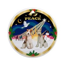 XmasSunrise(Peace)-Two Wire Fox Terriers Ornament