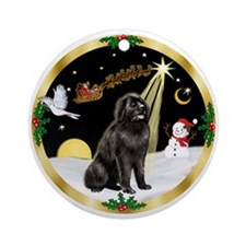 Night Flight & Newfie Ornament (Round)