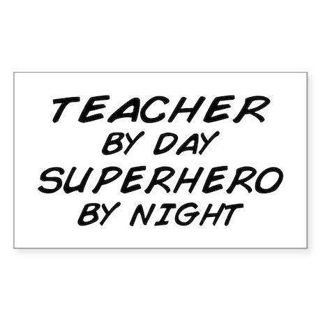 Teacher Day Superhero Night Rectangle Sticker
