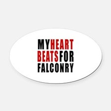 My Hear Beats For Falconry Oval Car Magnet