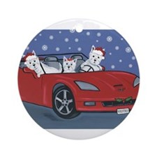 Westie Santa Cruizers Ornament (Round)