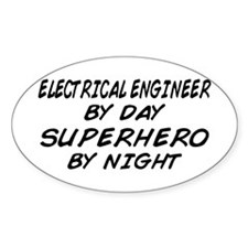 EE by Day Superhero by Night Oval Decal
