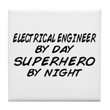EE by Day Superhero by Night Tile Coaster
