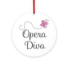 Cute Opera Diva Ornament (Round)