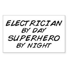 Electrician Day Superhero Night Sticker (Rectangul
