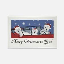 Merry Christmas Westies Rectangle Magnet