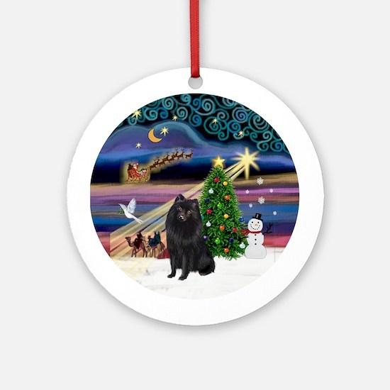 Xmas Magic & Schipperke Ornament (Round)