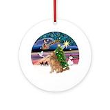 Christmas magic golden retriever Ornaments