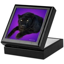 Black Panther on Purple Keepsake Box