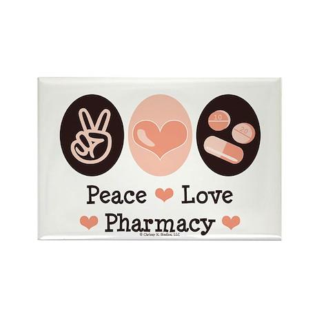 Peace Love Pharmacy Pharmacist Rectangle Magnet