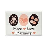 Peace Love Pharmacy Pharmacist Rectangle Magnet (1