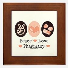 Peace Love Pharmacy Pharmacist Framed Tile