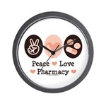 Peace Love Pharmacy Pharmacist Wall Clock