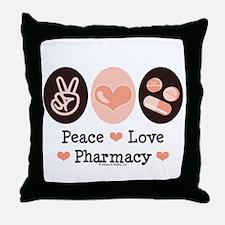 Peace Love Pharmacy Pharmacist Throw Pillow