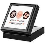 Peace Love Pharmacy Pharmacist Keepsake Box