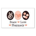 Peace Love Pharmacy Pharmacist Sticker (Rectangula