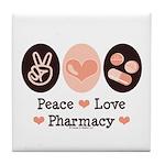 Peace Love Pharmacy Pharmacist Tile Coaster