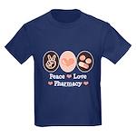 Peace Love Pharmacy Pharmacist Kids Dark T-Shirt