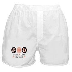 Peace Love Pharmacy Pharmacist Boxer Shorts