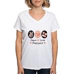 Peace Love Pharmacy Pharmacist Women's V-Neck T-Sh